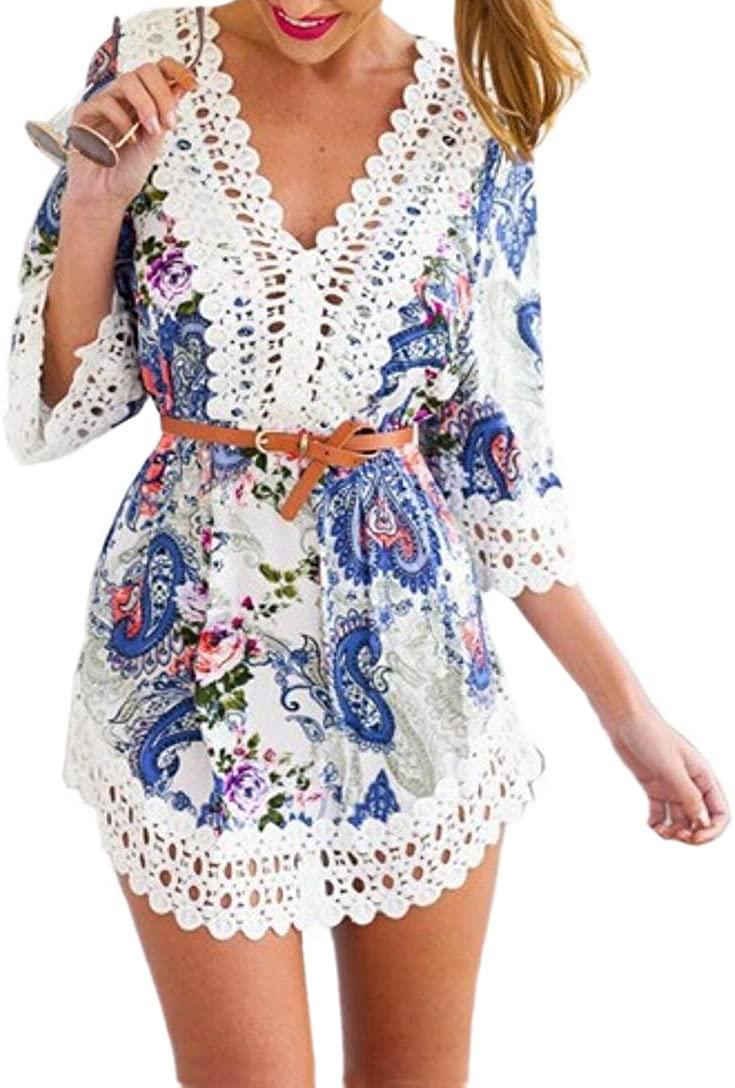 JJ-GOGO Blue V Neck Bohemia Sexy Floral Printed Crochet Lace Hem Dress