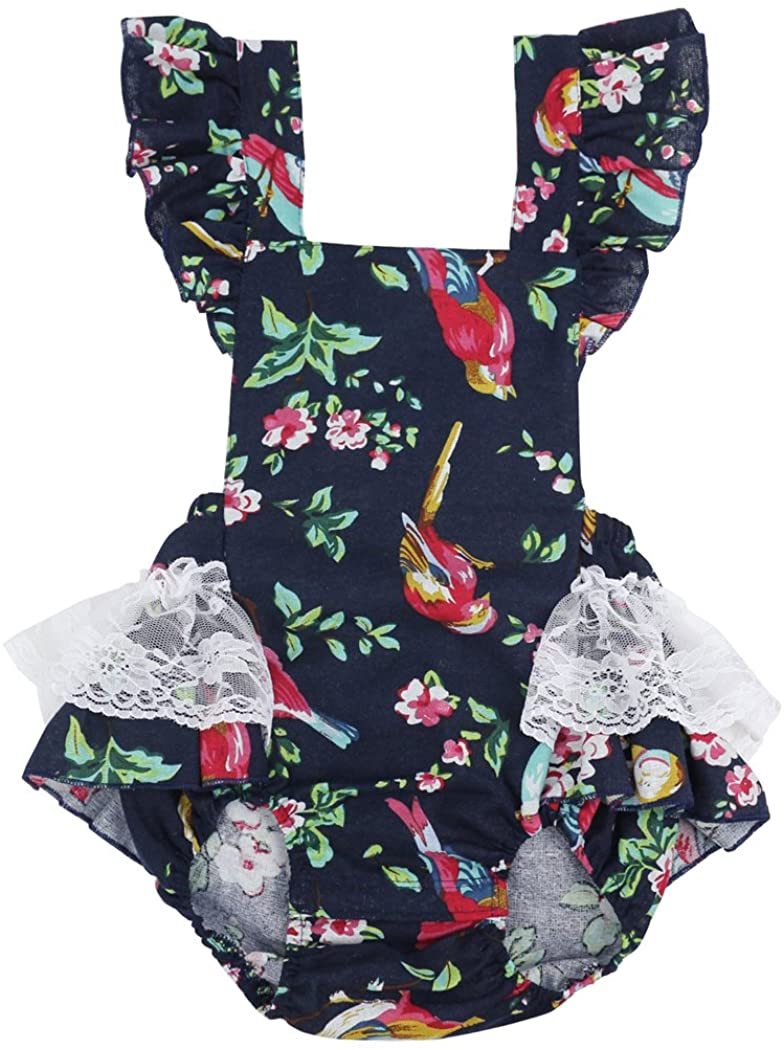 Wennikids Newborn Infant Baby Girls Clothes Cotton+Linen Printed Romper Jumpsuit Bodysuit Outfits