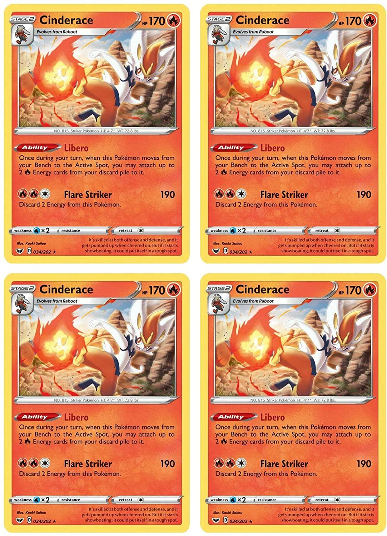 Pokemon Card - Cinderace - Sword and Shield Base - x4 Card Lot Playset - 034/202 Rare