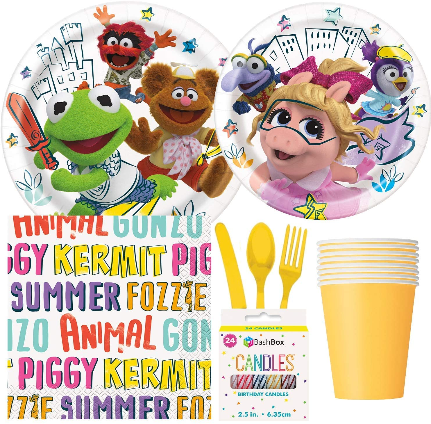 BashBox Disney Muppet Babies Birthday Party Supplies Pack Including Cake & Lunch Plates, Cutlery, Cups, Napkins (8 Guests) Plus BONUS Candles