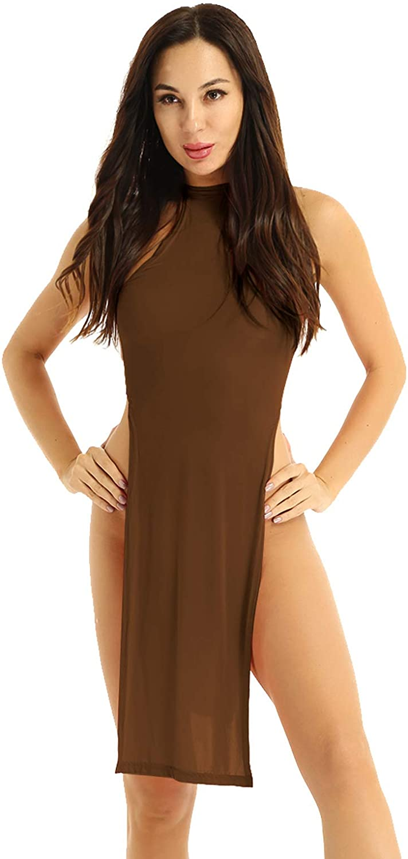 iEFiEL Women's Ultra Thin Lingerie Halter Sleeveless Backless Nightgown Mini Dress Party Clubwear