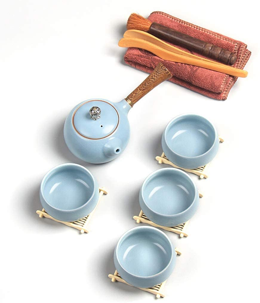 Japanese Tea Set, Travel Ceramic Tea Pot Set, Traditional Classical Style, Including Cups, Teapot Tray Portable Protective Bag (Size : Type 1)