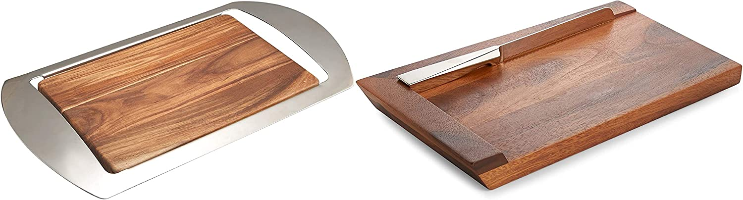 Nambe Mikko Bar Tray, 19-Inch by 10-1/2-Inch by 1-3/4-Inch Bundled with Nambe Geo Challah Board with Knife