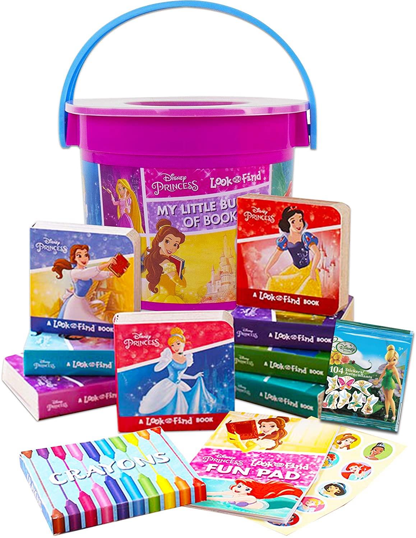Disney Princess Board Books Set Storybook Collection ~ 8 Pack Disney Story Book Block Books, Princess Activity Coloring Book, Disney Fairies Reward Stickers, and More (Disney Princess Activity Bucket)