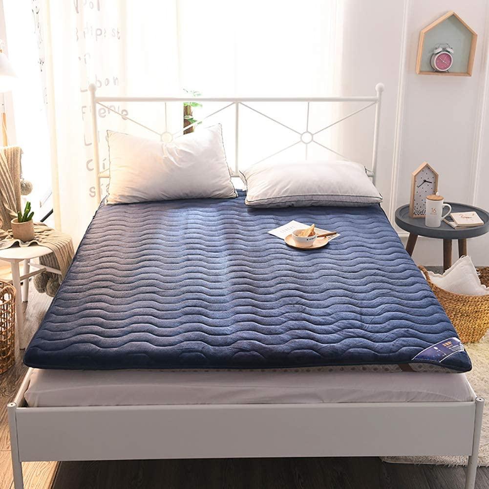 Tatami mat Floor mat Mattress Topper Futon Mattress Mattress Protectors Foldable Student Dormitory-Blue 90x200cm(35.4x78.7inch) Twin Full Queen King