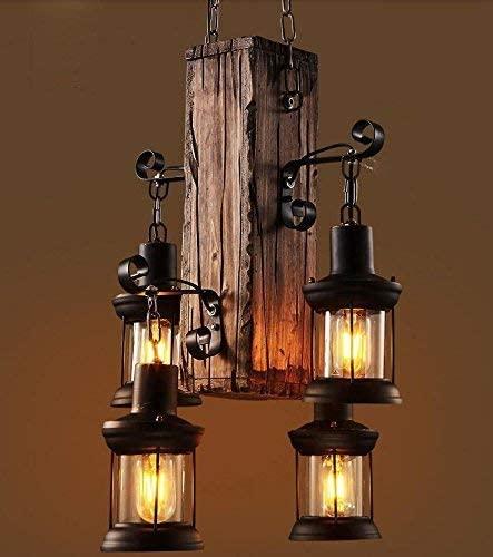 BOSSLV American Retro Coffee Restaurant Bar Retro Creative Personalized Apparel Shop Solid Wood Decorative Chandeliers