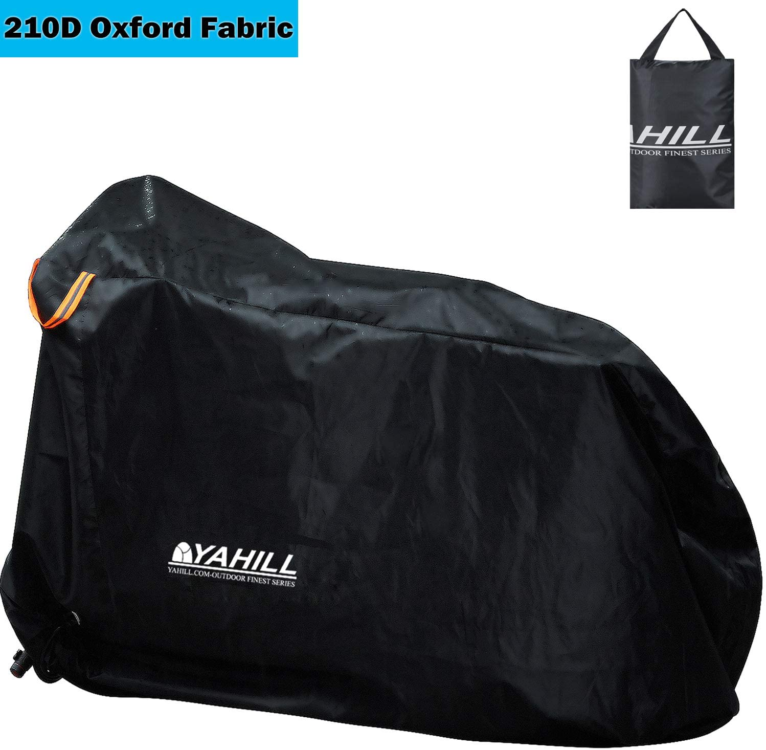 YAHILL Waterproof Bike Cover, Bicycle Rain Cover-210D Polyester Anti Dust UV Protection Cover, Outdoor Rainproof Windproof Cover for Mountain Road Electric Moto Bikes with Lock Hole Storage Bag-L,XL