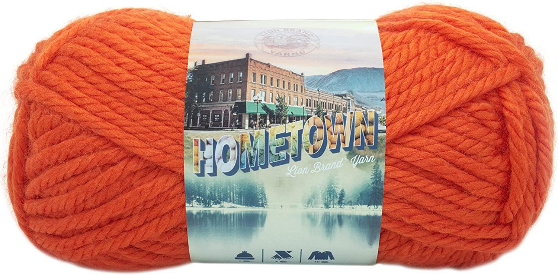 Lion Brand Yarn 135-133L Hometown Yarn, Syracuse Orange (1 skein)