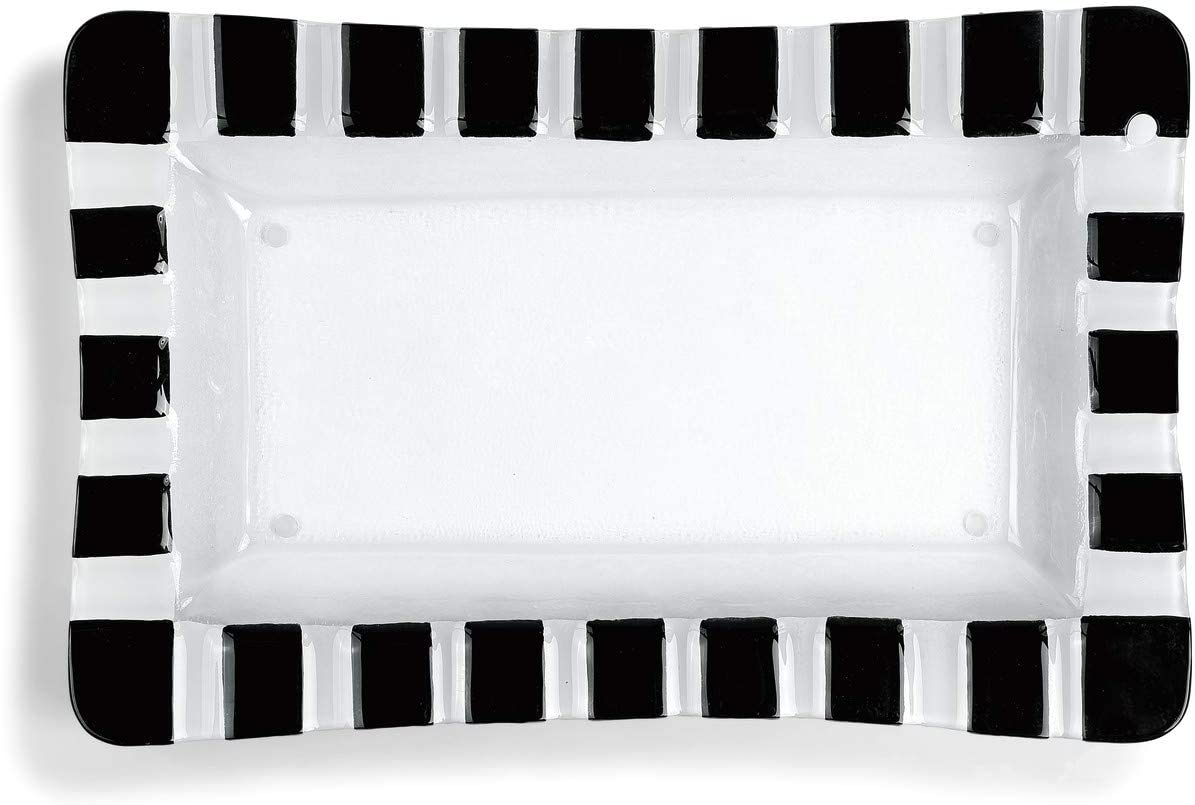 Striped Rectangle Black and White 16 x 10 Handpainted Glass Pop In Platter