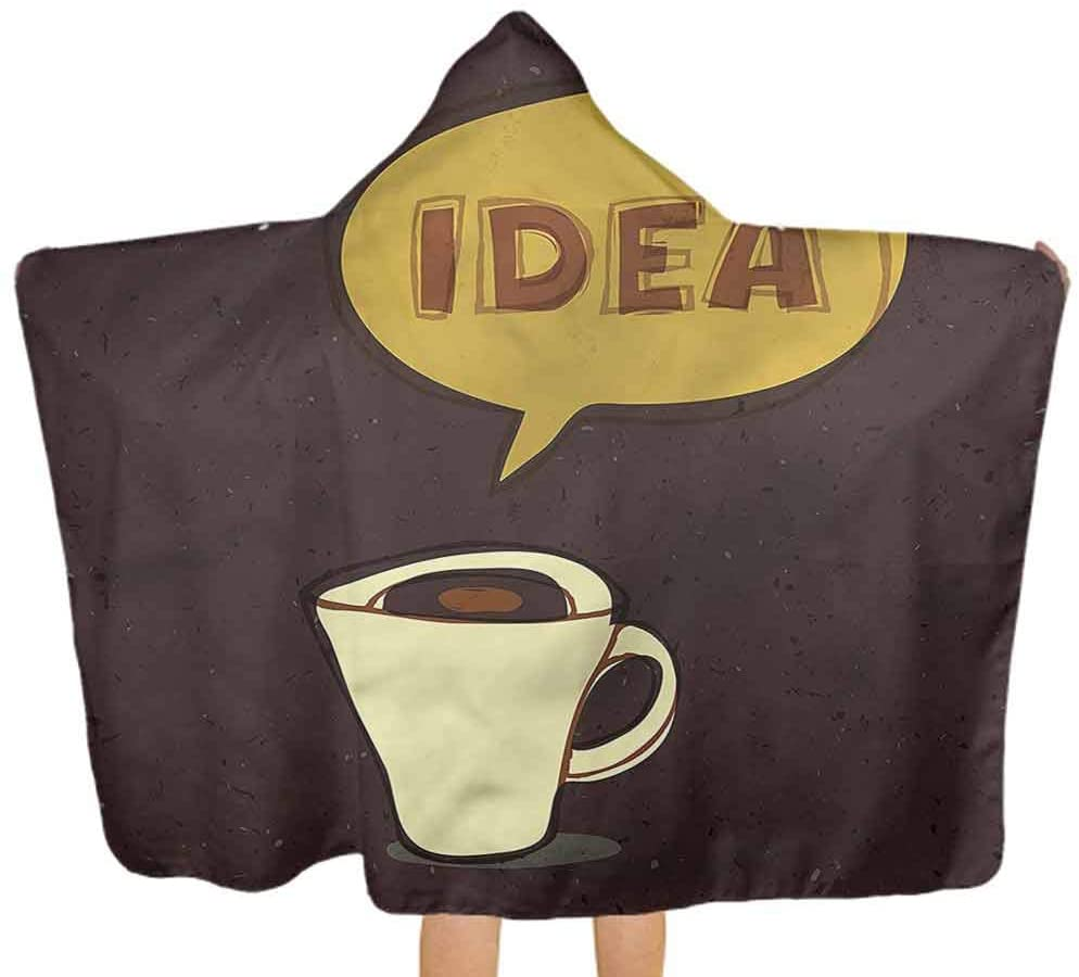 ThinkingPower Hooded Baby Towel Coffee, Cup of Idea Sketch Art Large Baby Bath Towel Suitable as Baby Gifts 51.5x31.8 Inch