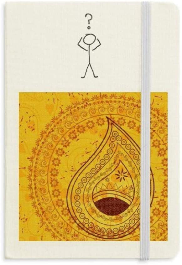 Printing Repeat Cloth Yellow Colorful Art Question Notebook Classic Journal Diary A5