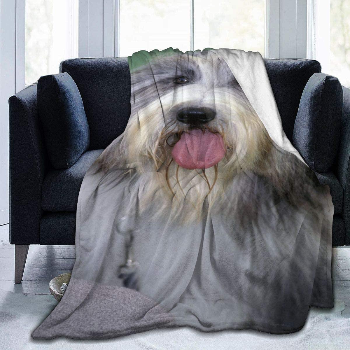 Micro Fleece Plush Soft Baby Blanket Blissful Bearded Collie Dog Fluffy Warm Toddler Bed/Crib Blanket Lightweight Flannel Daycare Nap Kids Sleeping Tummy Time Throw Blanket Girls Boy Kid/Baby