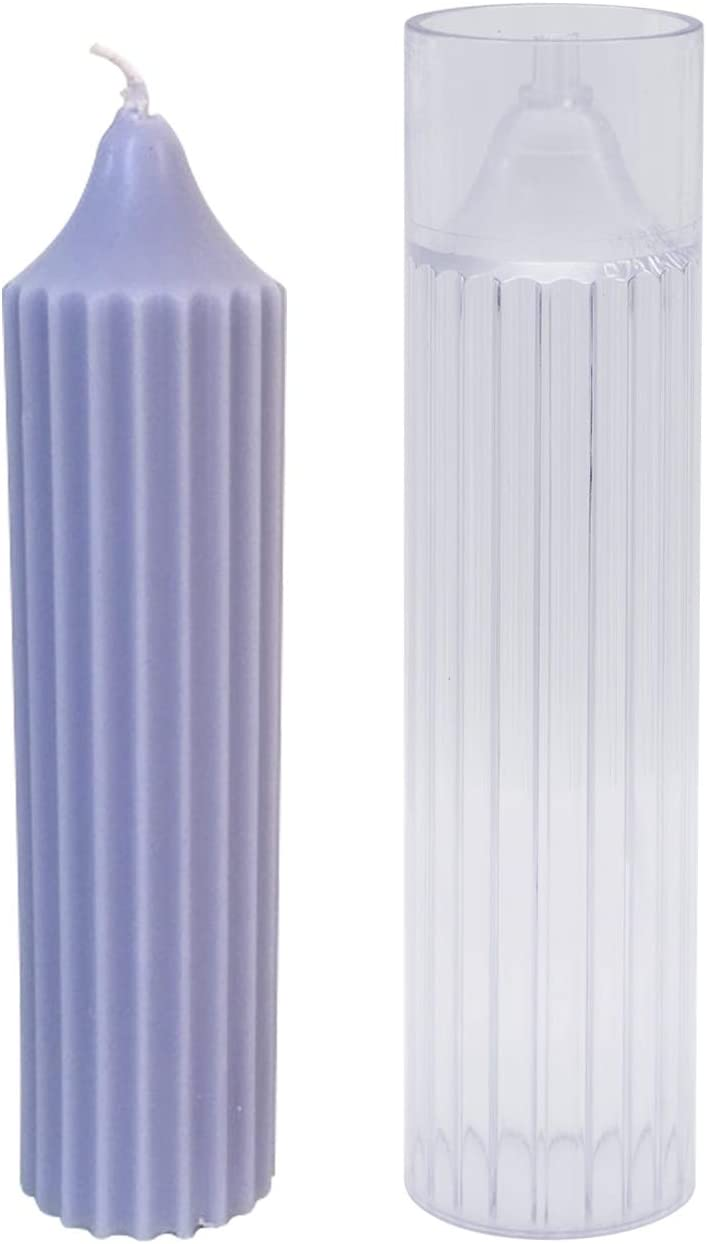 DGQ Pillar Candle Mold Cylinder Rib Plastic Candle Molds 6 Inch for Candle Making DIY Handmade Candles