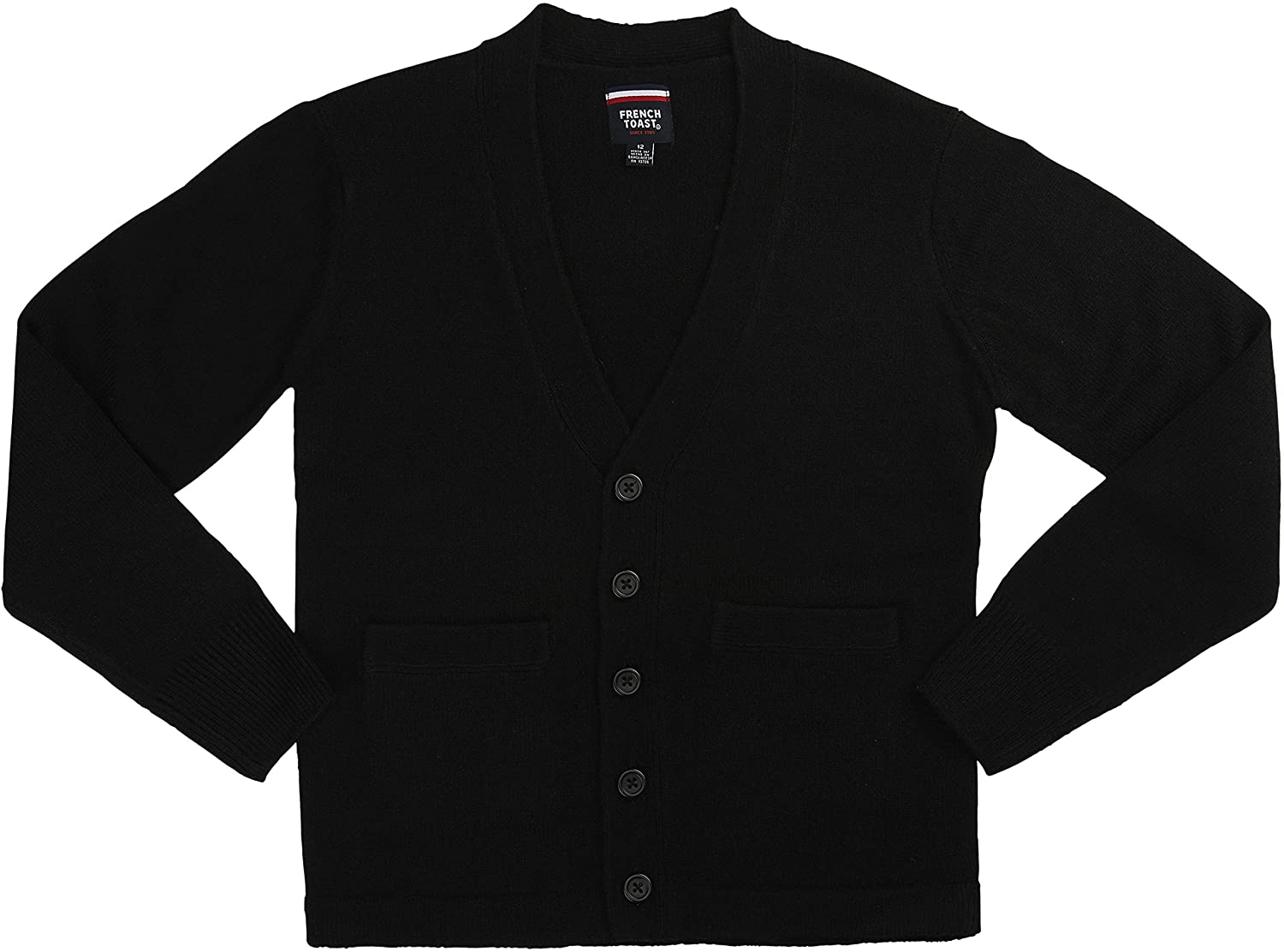 French Toast School Uniform Boys Anti-Pill V-Neck Cardigan Sweater, Black, X-Small (4/5)