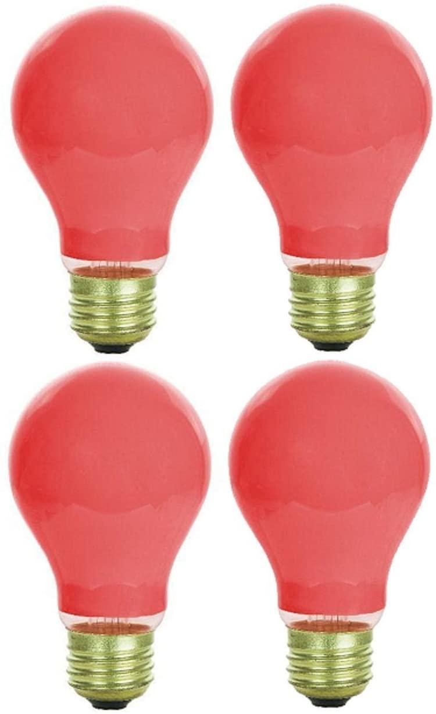 4 Pack 25 Watt A19 Colored Ceramic Red Incandescent Medium Base Party Light Bulb