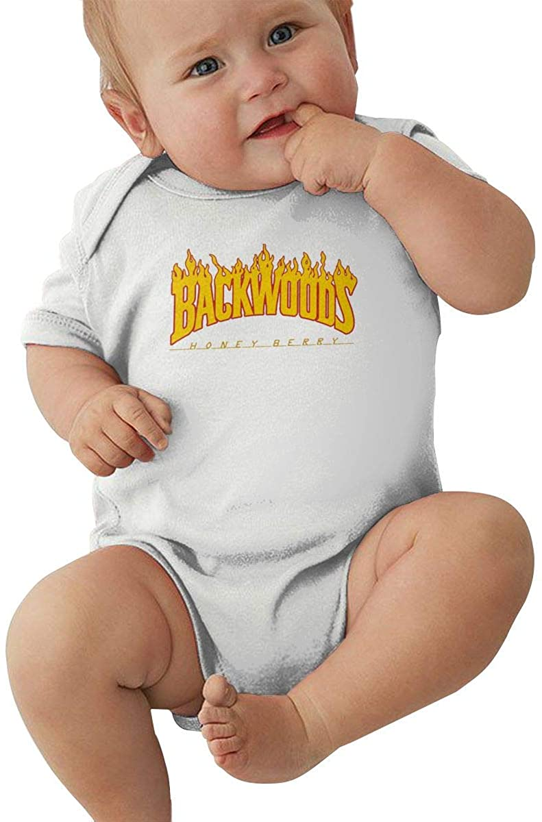 AP.Room 0-24 Months Baby Short Sleeve Creeper Jumpsuit Backwoods Cool Personality Design White