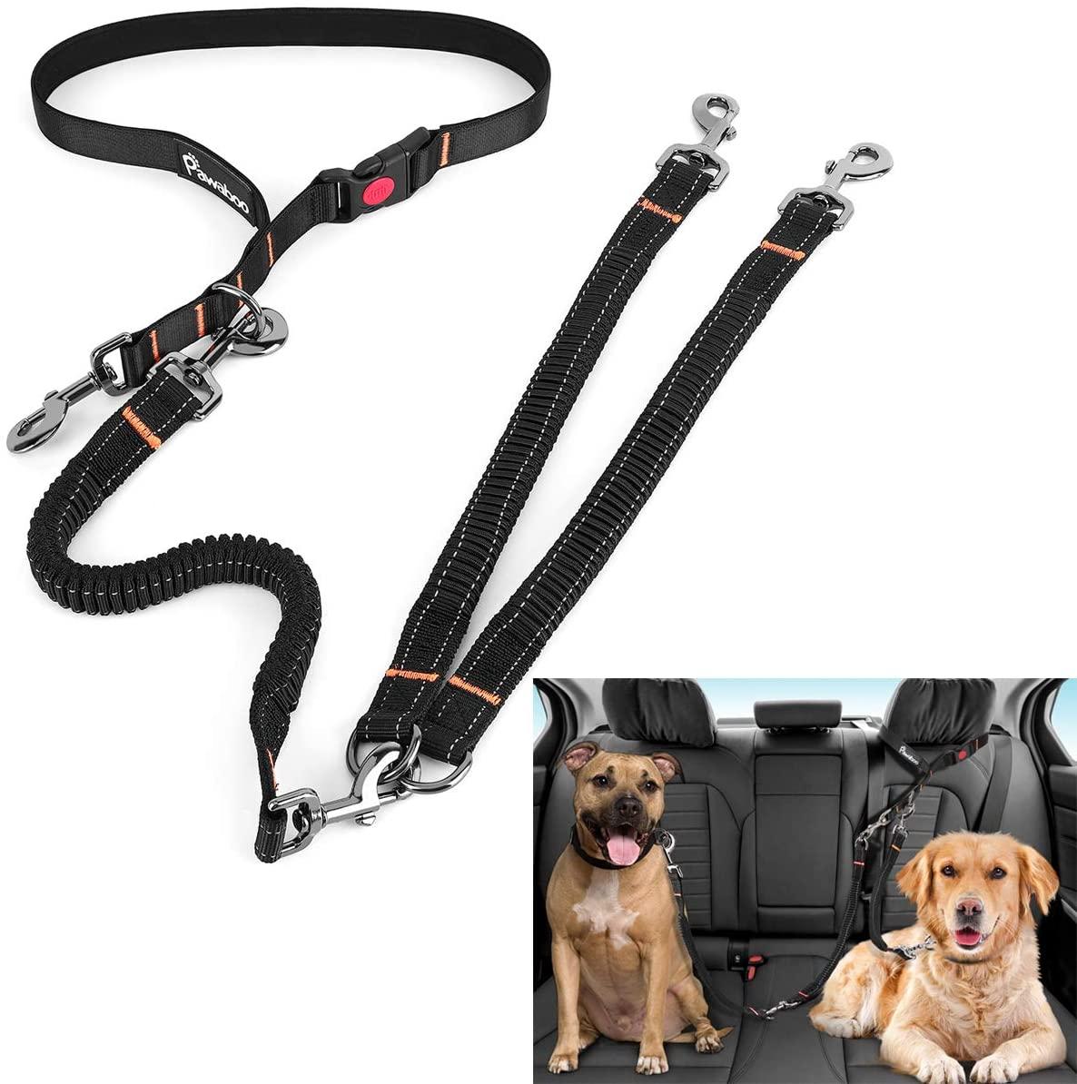 Pawaboo Dog Seatbelt, Upgraded Adjustable Nylon Pet Car Seat belt Harness Headrest Restraint, Bungee Double Dog Leash Reflective Vehicle Safety Leads Strap for Travel for Small Medium Large Dog, Black