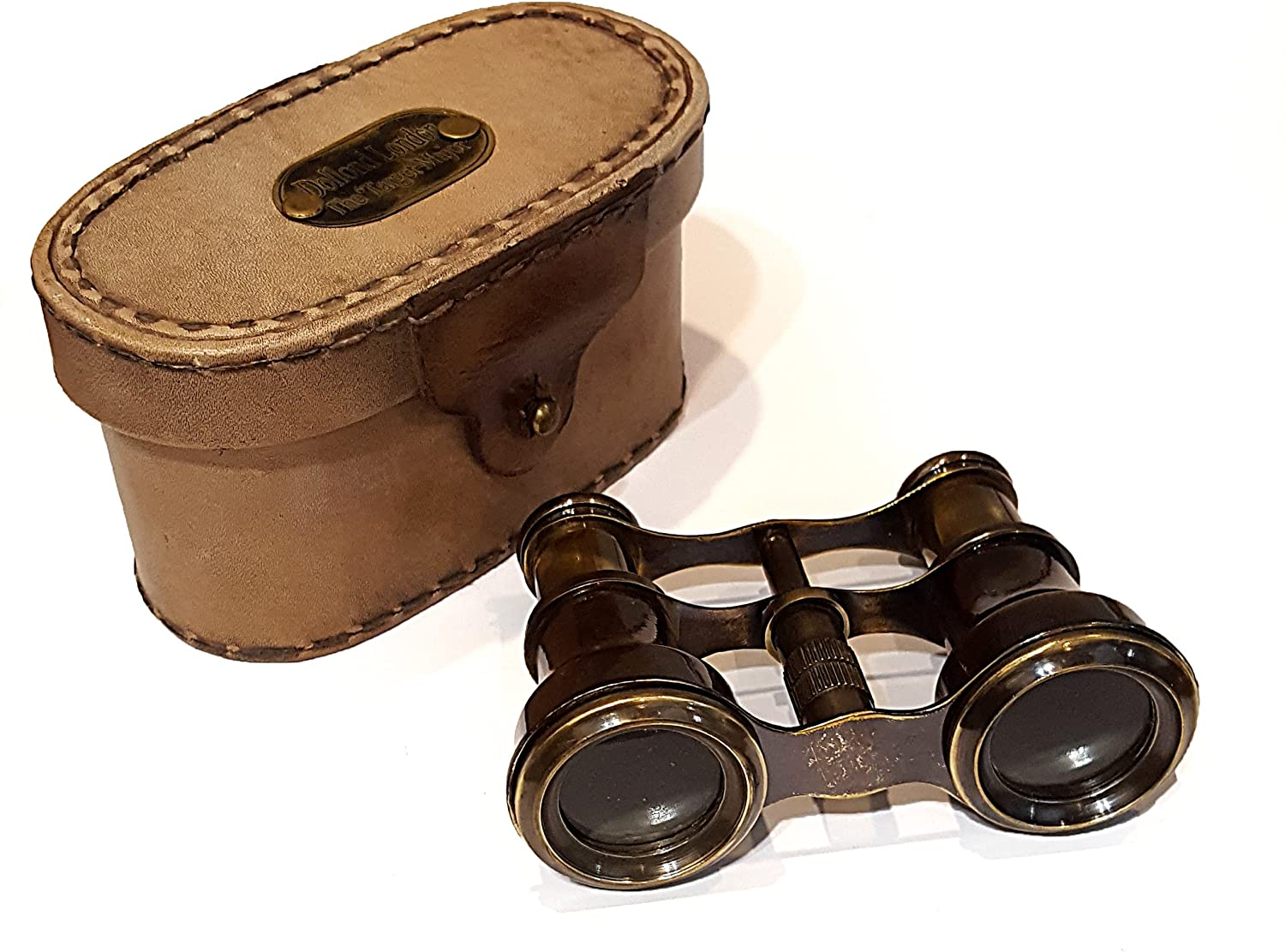 Brass Antique Monuclar Mini Binocular Ancient Pirate Focus Spyglass Leather Box