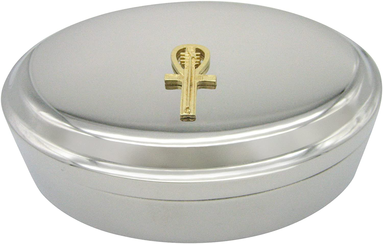 Kiola Designs Gold Toned Egyptian Ankh Pendant Oval Trinket Jewelry Box