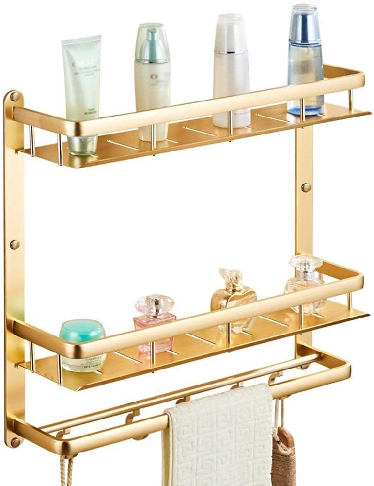 Mr. Bathroom Bathroom Shelf Shower Organiser Wall-Mounted Space Aluminum Square Punch Free Tower Hanger Hook up Drain Fence (Color : 2 Layers, Size : 50cm)