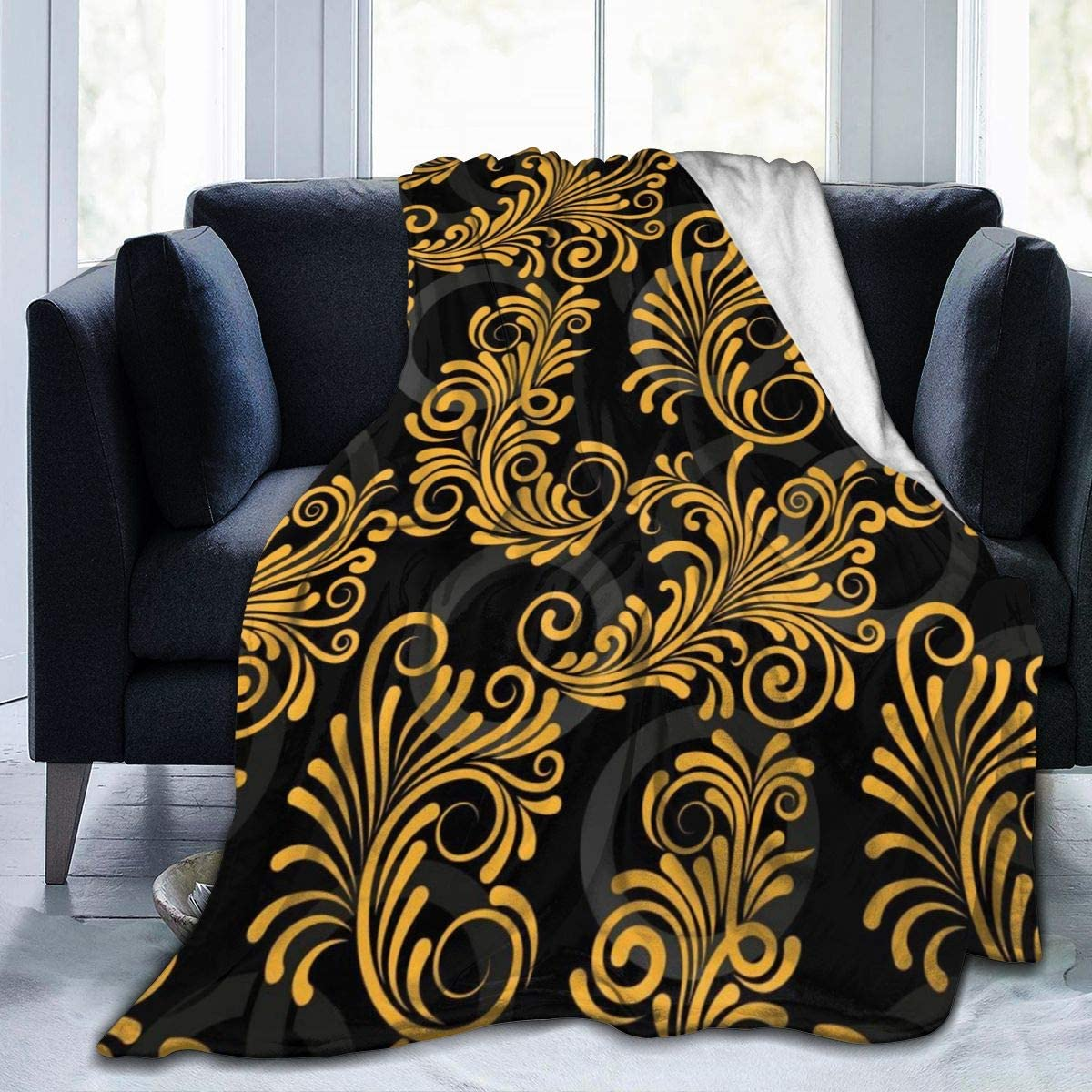 Micro Fleece Plush Soft Baby Blanket Endless Abstract Golden Lines Fluffy Warm Toddler Bed/Crib Blanket Lightweight Flannel Daycare Nap Kids Sleeping Tummy Time Throw Blanket Girls Boy Kid/Baby