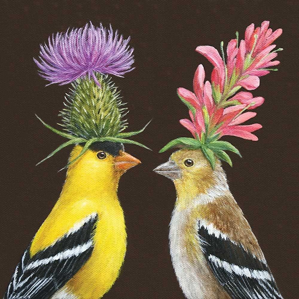 Paperproducts Design Vicki Sawyer Goldfinch Couple Paper Cocktail Napkins, Multicolor