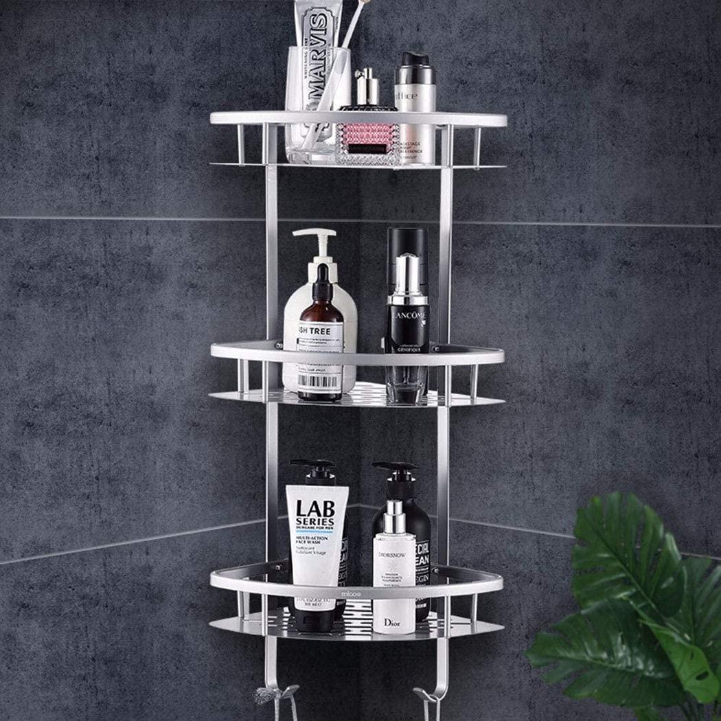 ZIHUAD Storage Rack,Bathroom Storage Shelves Rack, Bathroom Shelf Free Punching Space Aluminum Bathroom Rack Triangle Basket Storage Rack-threelayers