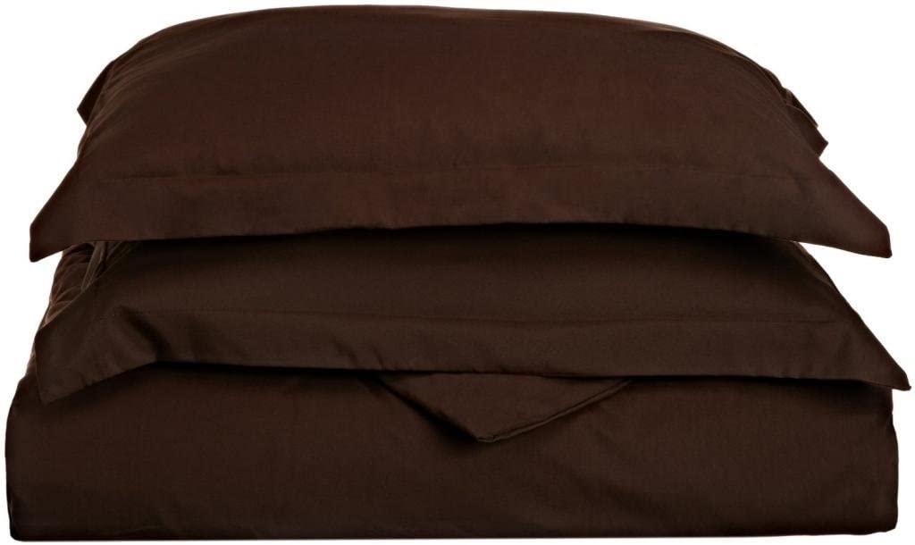 Clara Clark 1500 Series Duvet Cover King Size, Chocolate Brown