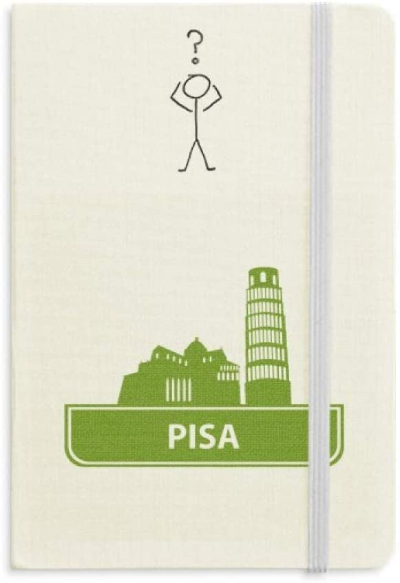 Pisa Italy Green Landmark Pattern Question Notebook Classic Journal Diary A5