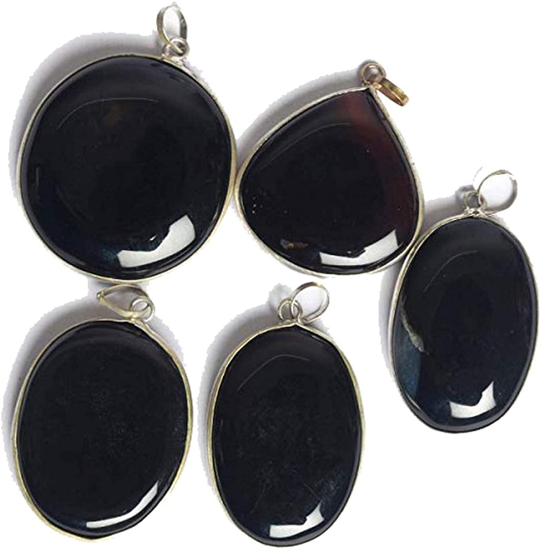 gemhub Black Onyx Finest Mix Shape Silver Plated 5 Pendants Lot for Unisex