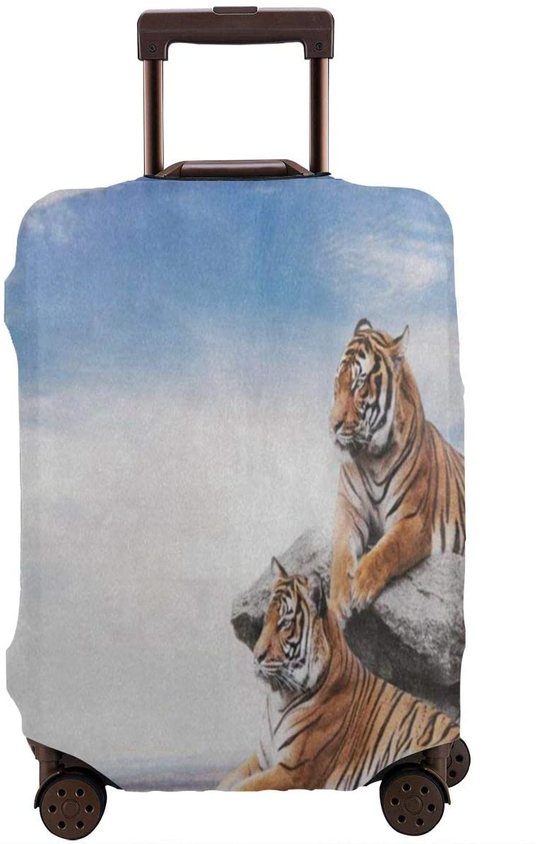 Blue Sky Animal Tiger Travel Luggage Cover,Elastic Polyester Protection Anti-Scratch Waterproof,Travel Elastic Spandex Suitcase Protector Various Sizes Fit All Luggage