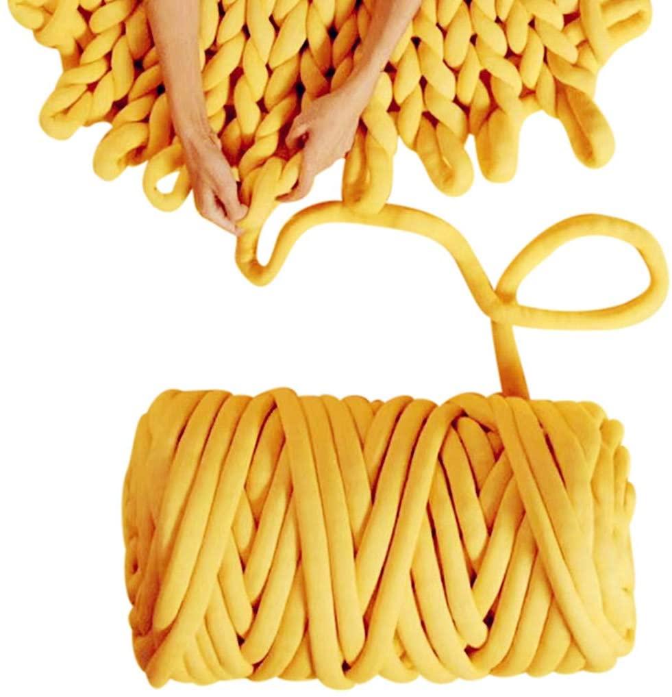 Arm Knitting Yarn, Hand Knitting, Arm Knit Yarn, Jumbo Yarn, Cotton Tube Yarn Super Soft Washable Bulky Giant Yarn for Extreme Arm Knitting DIY (Yellow, 3.5 lbs / 70 Yards)