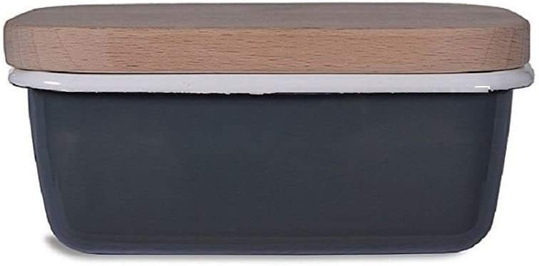 Garden Trading Enamel Butter Dish with Wooden Lid in Charcoal Grey