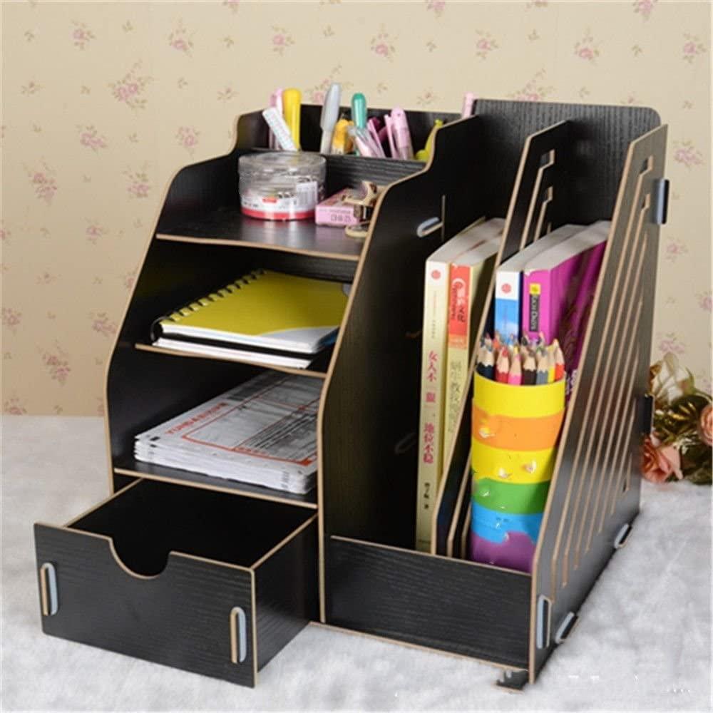Creative Desktop Wooden Storage Box Office Drawer Storage Multifunctional Finishing Bookshelf,Black