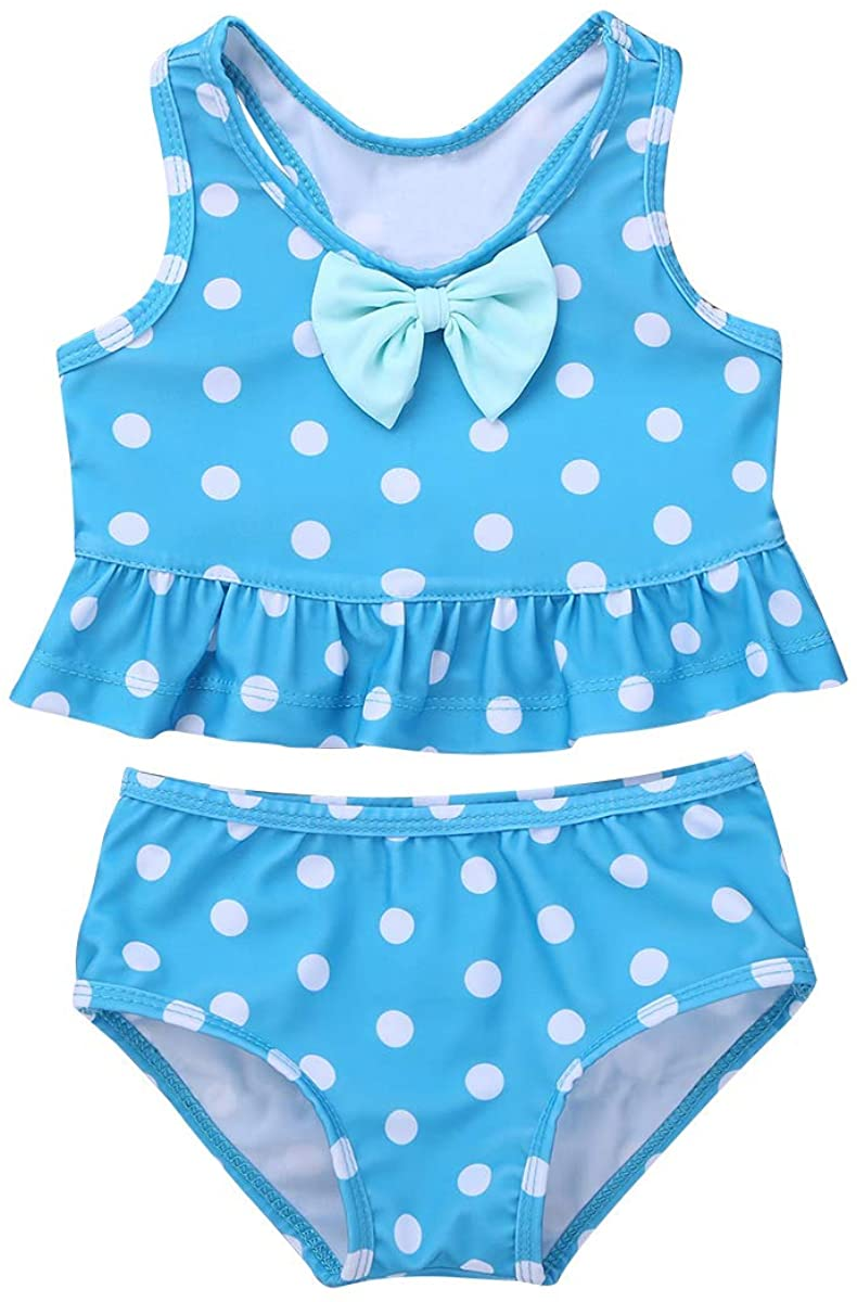 iiniim Baby Toddlers Girls 2 Piece Polka Dot Racer Back Ruffle Peplum Bowknot Tankini Bikini Swimsuit Bathing Suit Swimwear