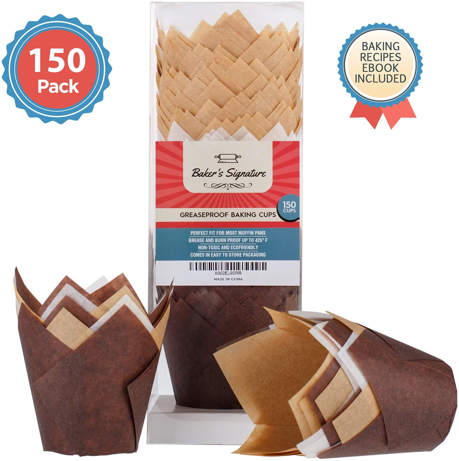 Baker's Signature Tulip Baking Paper Cupcake & Muffin Liners Pack of 150   Greaseproof Wrappers – Will Not Curl or Burn – Comes in Convenient Packaging