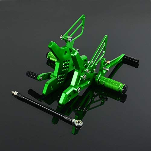 JFG RACING Forward Controls Foot Pegs Motorcycle Rearsets CNC Adjustable Rear Foot Pegs Footrest For Kawasaki Z750 2004 2005 2006,Green
