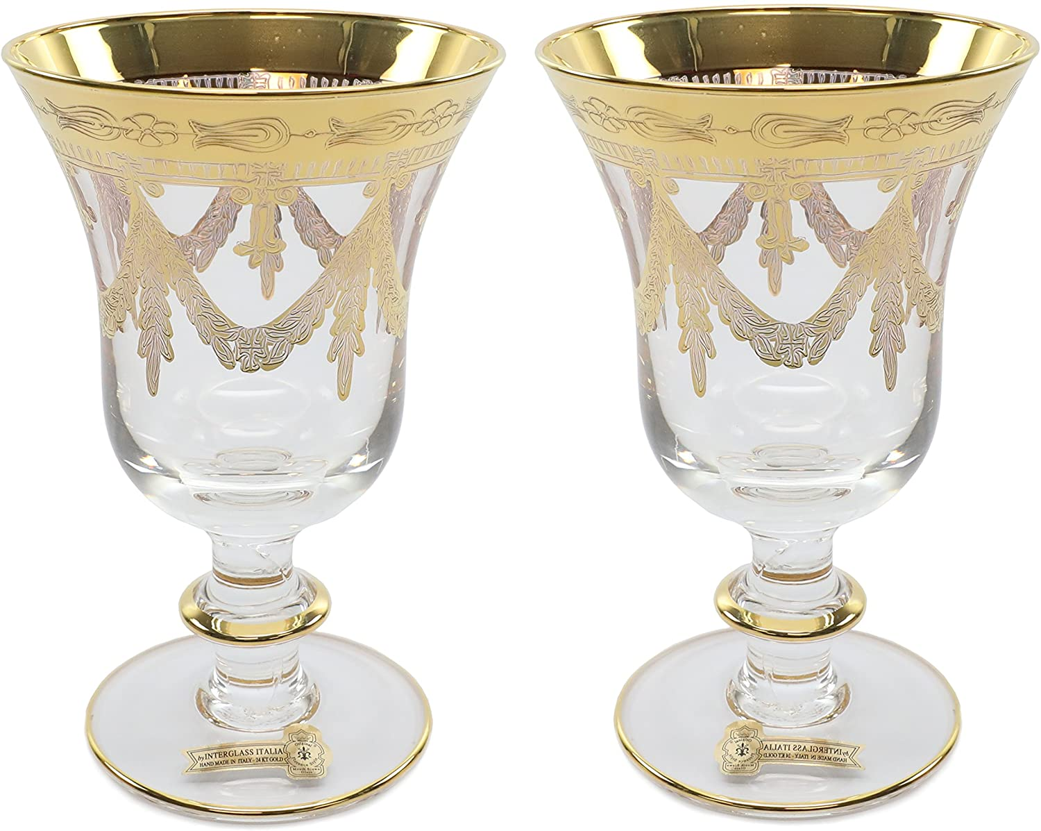 Interglass Italy 2-pc Luxury Crystal Glasses, Vintage Design, 24K Gold-Plated (Wine)