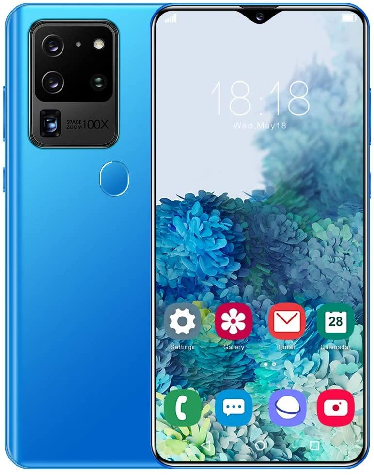 HELIn Mobile Phone Unlocked- S30U Plus 4G Android 10.0 Smartphone,6.8 inch FHD+ Display with 4800mAh Battery, Dual Sim Dual Camera, Finger Recognition,Facial Recognition Mobile Phone (Color : Blue)
