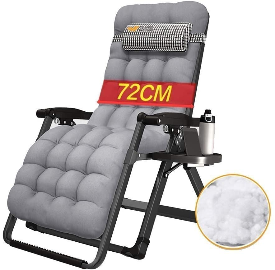 Deck chair Patio Reclining Chairs Sun Lounger Chair Zero Gravity, Outdoors Locking Recliners Home Folding Oversize Lounge with Cotton Pad Sun Lounger (Color : Gray)