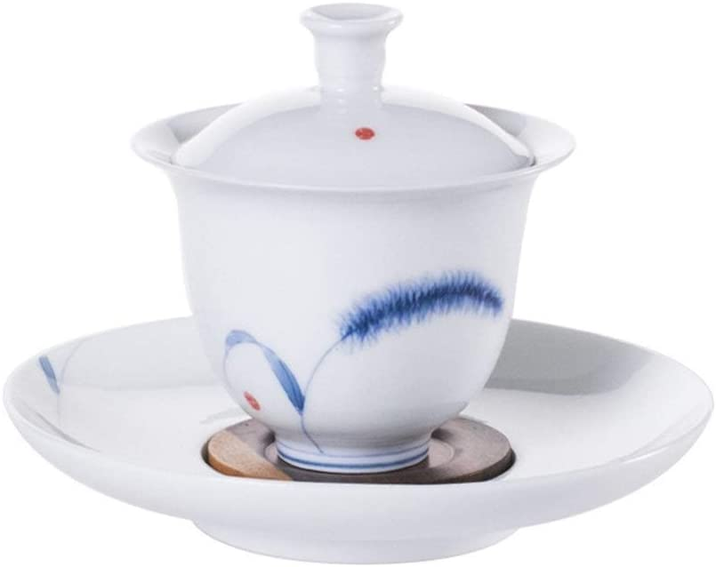 MADONG meticulous drawing ceramic dog's tail grass large anti-hot tureen with God (Color : White)