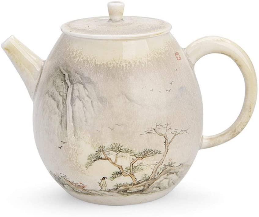 QinMei Zhou Firewood hand-painted ceramic teapot suit household firewood ash firewood teapot kung fu tea pot (Color : Junde Kettle)