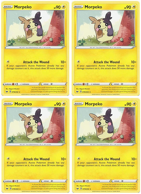 Pokemon Card - Morpeko - Sword and Shield Base - x4 Card Lot Playset - 078/202 Rare
