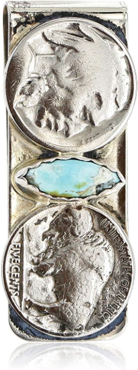 Native-Bay $350Tag 2 Vintage Style Old Buffalo Coin Certified Silver Navajo Nickel Turquoise Money Clip 11244-5 Made by Loma Siiva