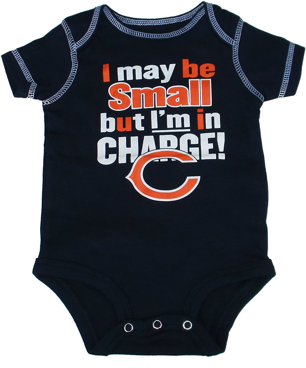Genuine Merchandise Chicago Bears I May BE Small BUT I'm in Charge Infant One Piece Size 0-3 Months Bodysuit Creeper - Navy