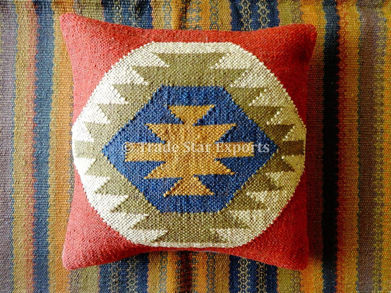 Tradestar 18x18 Kilim Pillow Cover Boho Jute Cushions, Decorative Throw Pillow Cases, Handwoven Cushion Cover, Ethnic Pillow Shams Housewarming Gifts for Living Room