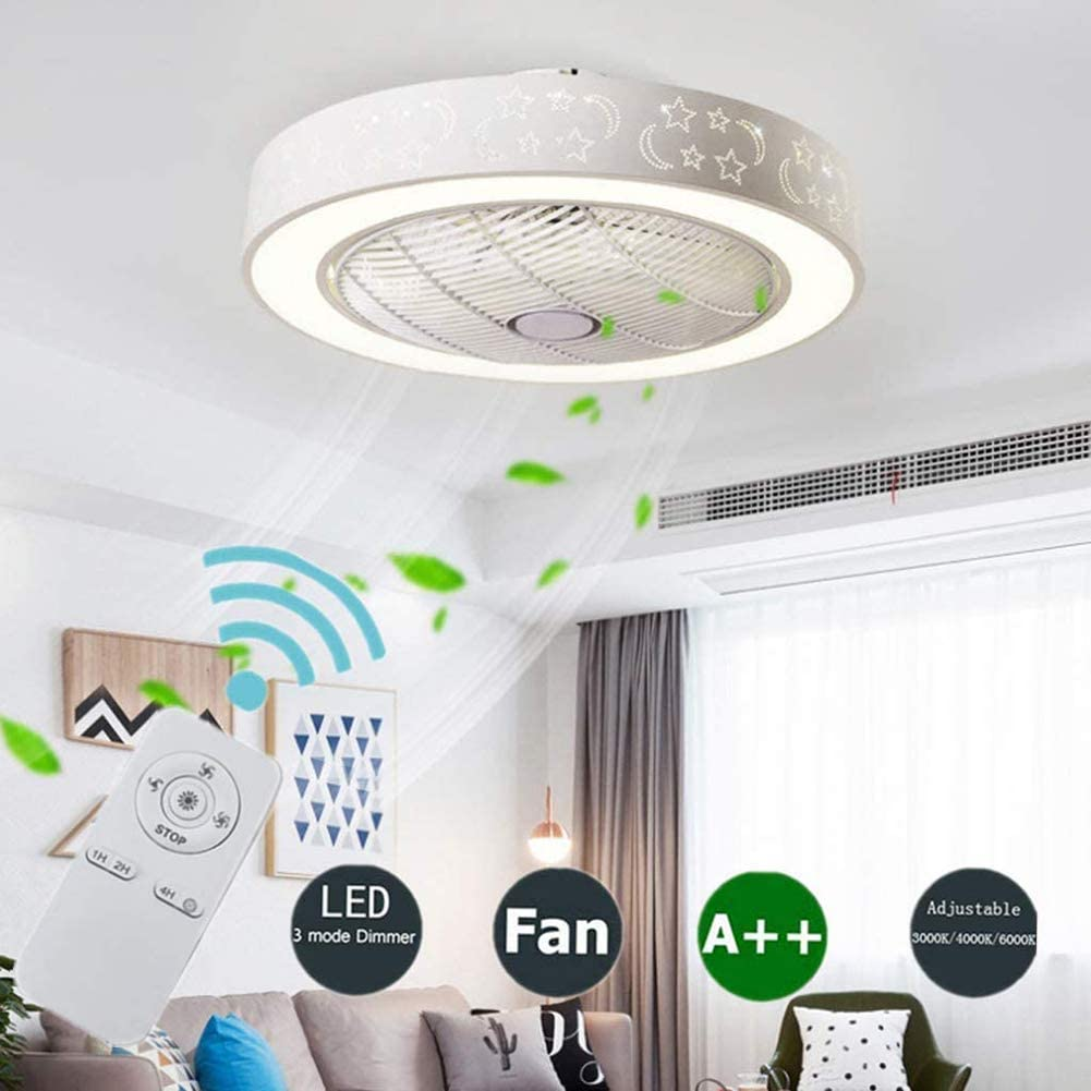 YAOLAN Ø55CM Creative Modern Ceiling Fan Lamp LED for Nursery Bedroom Office Restaurant with Lighting and Remote Dimmable Silent 3 Speed