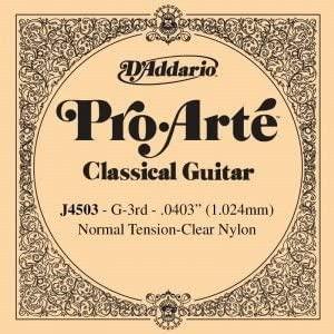 CUERDA SUELTA GUITARRA CLASICA - D´addario (J/4503) Pro/Arte Normal (Minimo 5 Cuerdas) 3ª