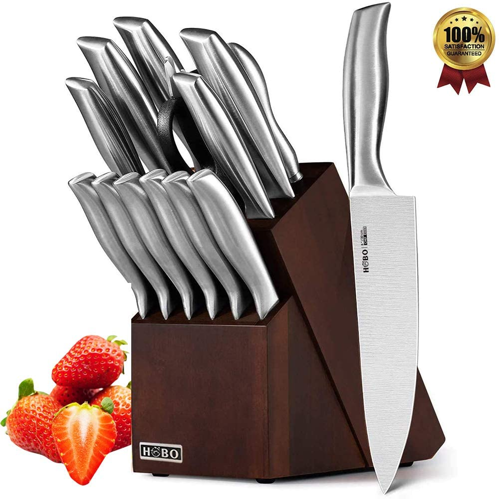 HOBO Knife Set, 14-Piece Kitchen Knife Set with Sharpener Wooden Block and Serrated Steak Knives, High Stainless Steel Knife Block Set