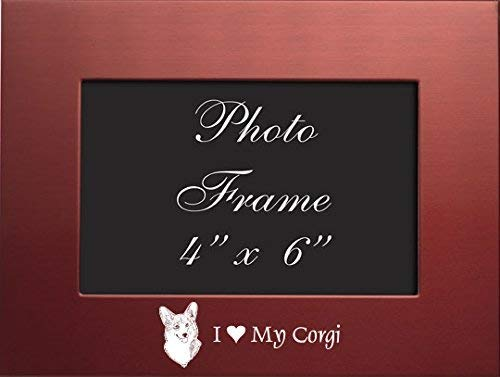 4x6 Brushed Metal Picture Frame-I love my Corgi-Red